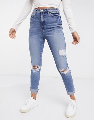 Urban Bliss high rise slim ripped jean in blue