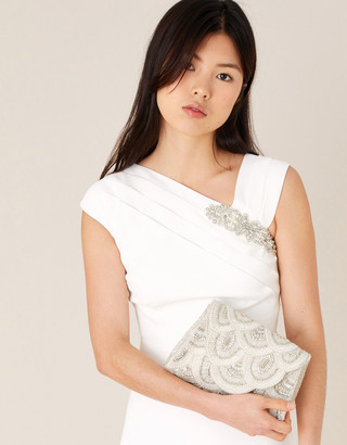 Monsoon Embellished Scallop Bridal Clutch Bag