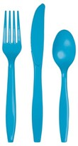 Creative Converting Turquoise Blue Assorted Plastic Disposable Silverware Flatware - 24 count