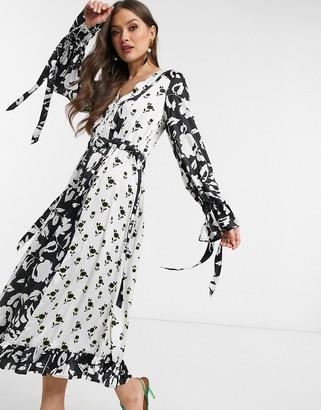 ASOS DESIGN trapeze maxi dress in mixed floral print