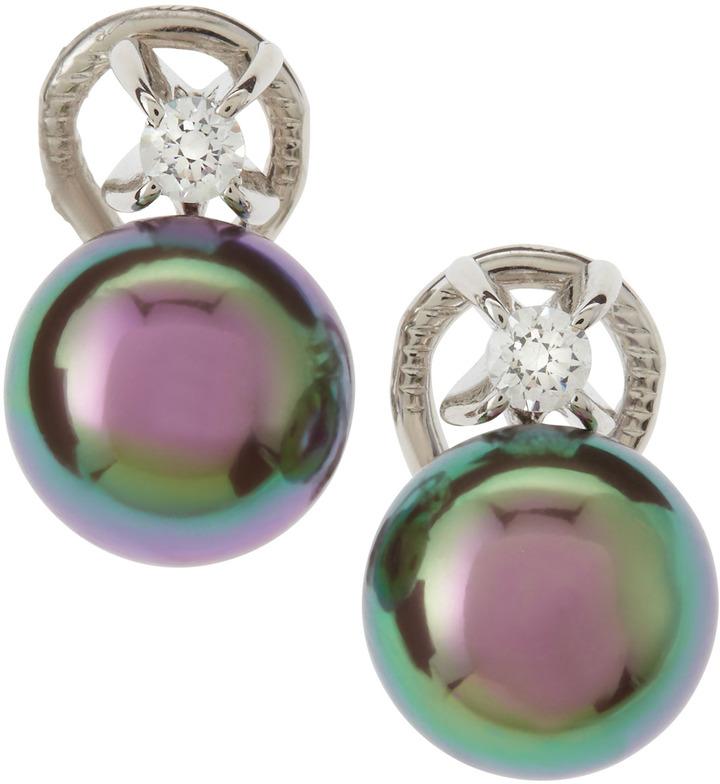 Majorica Tahitian Pearl-Cubic Zirconia Post Earrings