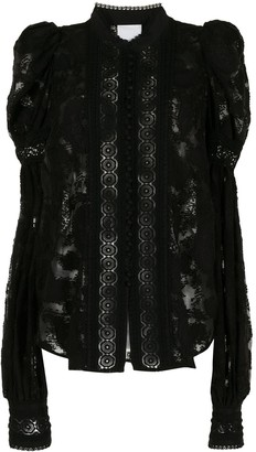 Acler Broderie-Trimmed Lace Blouse