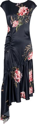 Sachin + Babi Huma Asymmetric Floral-print Silk-satin Midi Dress