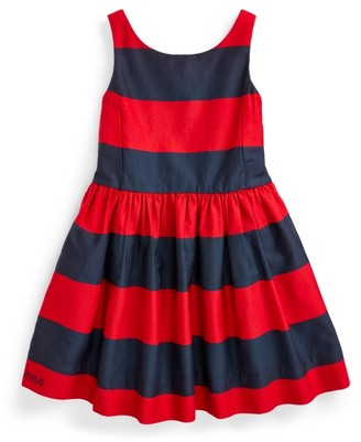 Ralph Lauren Striped Cotton Sateen Dress