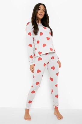 boohoo Heart Print Cuffed Bottom PJ Set