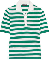 Dolce & Gabbana Striped Cashmere And Silk-Blend Polo Shirt