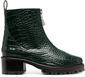 Nicole Saldaña Chris crocodile embossed ankle boots