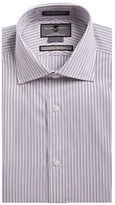 Black Brown 1826 Non-Iron Slim Fit Striped Dress Shirt