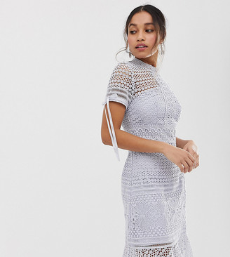 Chi Chi London all lover lace dress with frill hem in grey