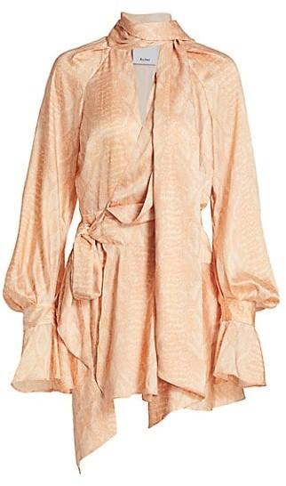 Acler Bradley Snake-Print Wrap Dress
