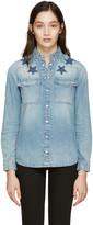 Givenchy Blue Denim Washed Stars Shirt