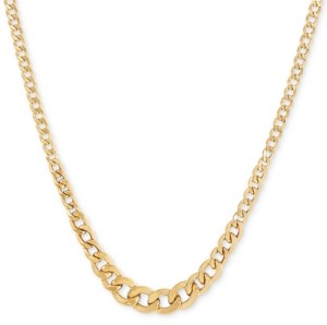 "Italian Gold 17"" Graduated Curb Chain Necklace in 10k Gold"