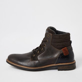 River Island Dark brown leather lace-up ankle boots