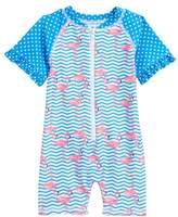 Sol Swim Zigzag Flamingos One-Piece Rashguard Swimsuit