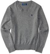 Ralph Lauren Melange V-Neck Pullover Sweater, Size 3-7