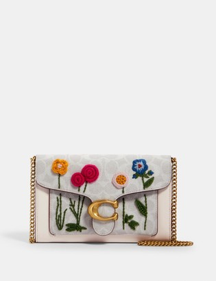Coach Tabby Chain Clutch In Signature Canvas With Floral Embroidery