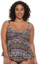 Plus Size A Shore Fit Tummy Slimmer D-Cup Bandeaukini Top