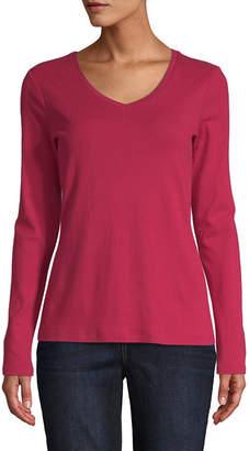 ST. JOHN'S BAY Tall-Womens V Neck Long Sleeve T-Shirt