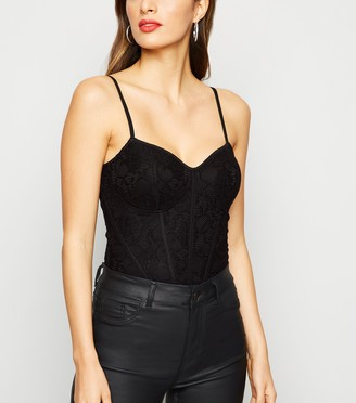 New Look Lace Bustier Strappy Bodysuit