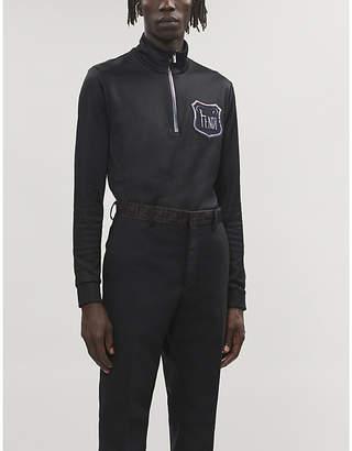 Fendi Branded-appliqué cotton-blend sweatshirt
