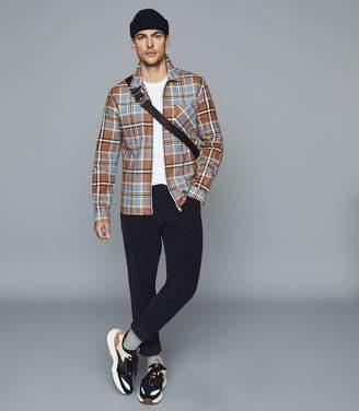 Reiss CASTLE Check Cotton Zip Through Jacket Blue