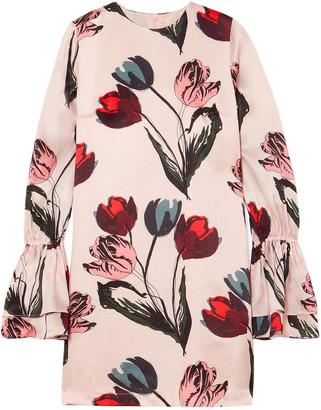 Mother of Pearl Morgan Floral-print Satin Mini Dress