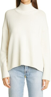 Co Funnel Neck High/Low Wool & Cashmere Sweater
