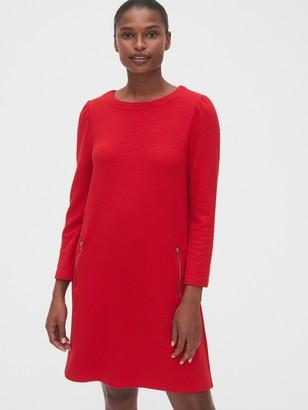 Gap Zip Pocket Textured Puff-Sleeve Dress