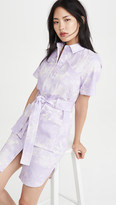 ADAM by Adam Lippes Belted Shirt Dress In Printed Twill