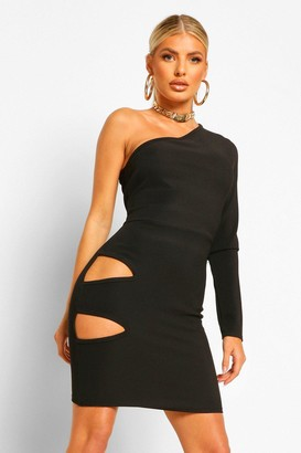 boohoo Bandage Rib One Shoulder Cut Out Waist Mini Dress