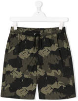 Finger In The Nose tropical palm camouflage shorts