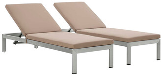 Modway Outdoor Set Of 2 Shore Chaise With Cushions Outdoor Patio Aluminum Set
