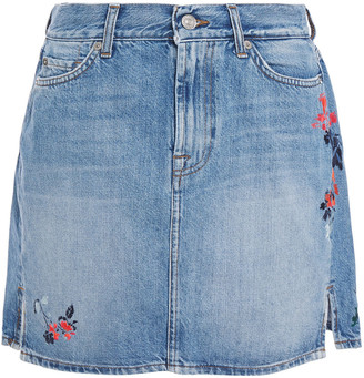 7 For All Mankind Embroidered Denim Mini Skirt