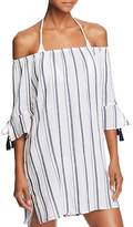 Lucky Brand Stripe Off-the-Shoulder Dress Swim Cover-Up