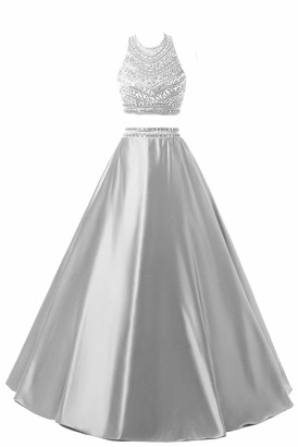 Himoda Women's Two Pieces Beaded Evening Gowns Satin Sequined Prom Dresses Long - Silver-10