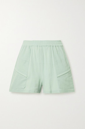Paradised Prim Crinkled Cotton-gauze Shorts