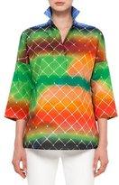 Akris Punto 3/4-Sleeve Baseball-Net Print Blouse, Multi Colors