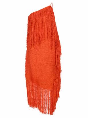 MSGM One Shoulder Tweed Fringed Dress