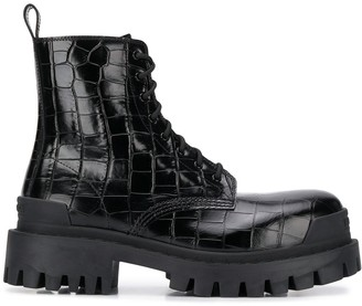 Balenciaga Strike L20 crocodile effect chunky boots