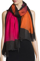Faliero Sarti Mika Colorblock Wool Scarf, Pink/Orange