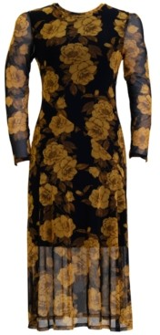 Connected Floral-Print Overlay Sheath Dress