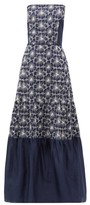 Zeus + Dione - Maya Floral-embroidered Strapless Linen Dress - Womens - Blue