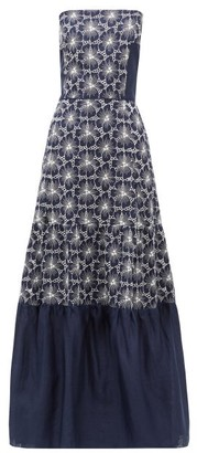 ZEUS + DIONE Maya Floral-embroidered Strapless Linen Dress - Blue