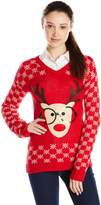 Derek Heart Junior's Long Sleeve Nerdy Reindeer Ugly Christmas Sweater