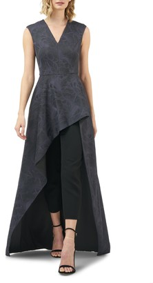 Kay Unger Roxane Embroidered Mesh Overlay Maxi Romper