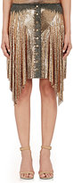 Paco Rabanne WOMEN'S CHAIN-MAIL HANDKERCHIEF-HEM SKIRT-GOLD SIZE 36 FR