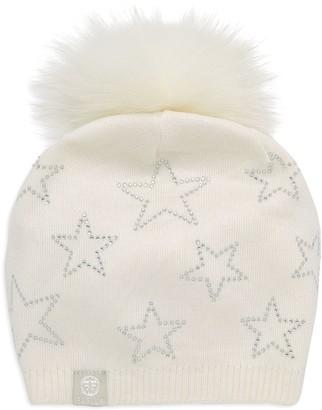 Furlux Embellished Wool & Cashmere Fox Fur Pom-Pom Beanie