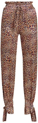 Adriana Iglesias Lora Jaguar-Print Silk Pants