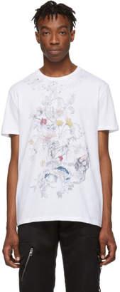 Alexander McQueen White Botanical Skull T-Shirt