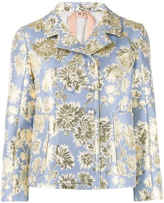 No.21 Floral Jacquard Double-Breasted Jacket